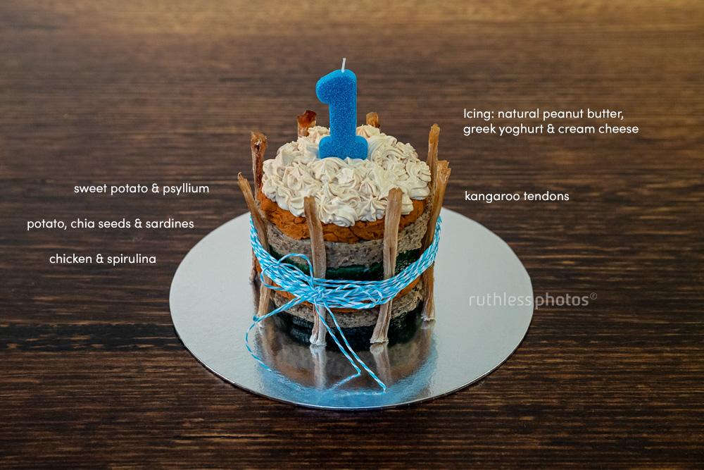raw fed natural doggie birthday cake