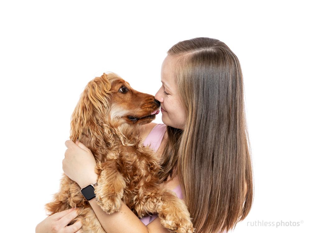 cocker spaniel dog kissing female owner